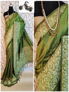 Stylish Look Multi Color Raw Silk Weaving Saree With Rich Pallu -Style Array Designer Sarees Collection, Saree Collection, Green Sari, Trendy Sarees, Designer Blouse Patterns, Soft Silk Sarees, Work Sarees, Silk Sarees Online, Saree Blouse Designs