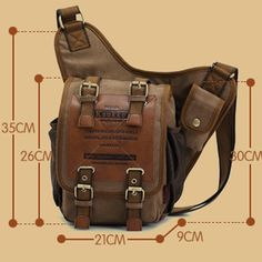 RU-BING Printing Leather Canvas Backpack Men Mochilas Travel Bags Messenger Bags ( Khaki )