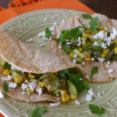 Roasted Poblano, Corn and Squash Tacos with Queso Fresco