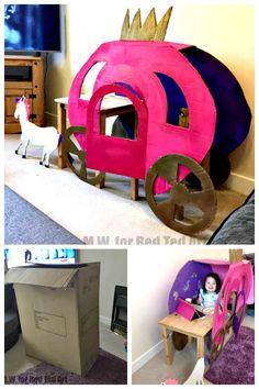 On Red Ted Art we have a Cardboard Box Princess Carriage! So sweet! I love how it combines with the little girl's table and chair for a special ride. Diy Crafts For Tweens, Recycled Crafts Kids, Craft Activities For Kids, Projects For Kids, Craft Projects, Kids Crafts, Project Ideas, Big Cardboard Boxes, Cardboard Play