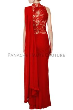 The red colour designer saree gown is featured in crepe fabric with red colour thread embroidered blouse. This designer gown can be cutomised in any colour of your choice.