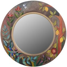Large Circle Mirror – Elegant and lovely large round mirror with floral motifs and lemons Mirror Crafts, Diy Mirror, Decorate Mirror, Mirror Tray, Mirror Ideas, Large Circle Mirror, Pottery Painting Designs, Handmade Mirrors, Mirror Mosaic