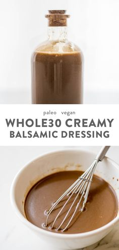 Creamy Balsamic Dressing (Paleo, Vegan) - This creamy balsamic dressing is super versatile and so delicious: tart, a bit sweet, and c - Paleo Sauces, Paleo Recipes, Real Food Recipes, Cooking Recipes, Budget Recipes, Dip Recipes, Light Recipes, Chicken Recipes, Whole30 Salad Dressing