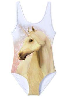 Easy to wear tank swimsuit with dreamy unicorn print. Girls Bathing Suits, Unicorn Print, Beachwear, Swimsuits, One Piece, How To Wear, Easy, Products, Fashion