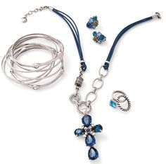 A striking collection of some of our beautiful blue items - the cross enhancer steals the show! I Love Jewelry, Jewelry Design, Chunky Necklaces, Designer Jewellery, Creative Ideas, Jewelery, Handmade Jewelry, Collections, Bracelets