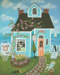 Knot Nook Stitchery Shop Folk Art Print por KimsCottageArt en Etsy, $12.95