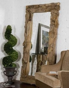 Teak Root Natural Floor Mirror This Stately Mirror Features A Natural, Unfinished, Sculpted Teak Root Frame. Mirror Has A Generous 1 Bevel. May Be Hung Either Horizontal Or Vertical. Driftwood Flooring, Driftwood Mirror, Diy Mirror, Beveled Mirror, Huge Mirror, Mirror Glass, Beveled Glass, Teak Wood, Rustic Wood