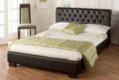 Bed Frame Luxurious Faux Leather High Headboard Comfortable And Easy To Wear 4ft6 Double, Black
