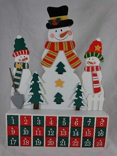 "Advent Calendar BIG 23"" Christmas Snowmen Wooden Cabinet Wood Drop Down Drawers"