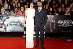 """""""Divergent"""" sequel co-stars delight fans in London, as Woodley goes backless in a glamorous gown"""