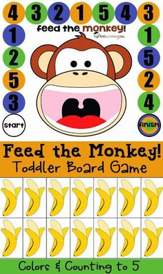 Free Board Game for Toddlers and PreK: Feed the Monkey Feed the Monkey: board game for toddlers and preschoolers Preschool Zoo Theme, Preschool Board Games, Preschool Learning, Toddler Preschool, Preschool Activities, Teaching, Preschool Kindergarten, Calendar For Preschool, Circus Crafts Preschool
