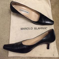 "Manolo Blahnik shoes Leather Manolo Blahnik shoes, 2"" heel, made in Italy, size 37 ½ Manolo Blahnik Shoes"