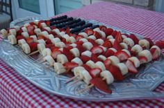 Memorial Day Fruit kabobs    Blueberries for the blue  Strawberries for the red  Bananas for the white    Cute and so simple