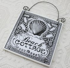 Black and White Sign Beach Cottage on Recycled Ceramic Tile