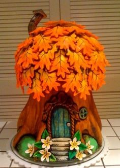 fairy cottage tutorial for cakes but would be cute as little felt houses - Google Search