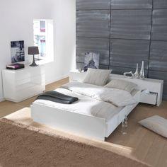 Lit plateforme, tête de lit, tiroirs, 2 places, NEWARK Autre   La Redoute