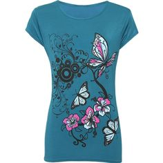 Samantha Butterfly Print T-Shirt ($11) ❤ liked on Polyvore featuring tops, t-shirts, teal, short sleeve tops, plus size tees, short sleeve tee, plus size women's t shirts and round neck t shirts