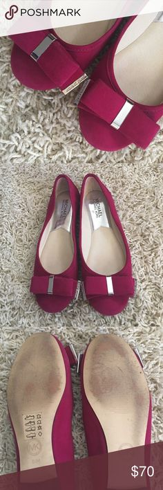 Michael Kors Magenta Ballet Flats Size 6.5. Suede Magenta Michael Kors Ballet Bow Flats. Worn once. No box. Excellent condition on the pink fabric. They were bought at Nordstrom last year. Beautiful magenta color with a bow at the toe. OFFERS ARE WELCOMED  Michael Kors Shoes