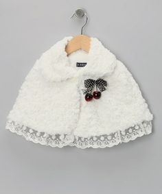 Take a look at this White Cherry Minky Swirl Cape - Toddler & Girls by S Square on #zulily today!
