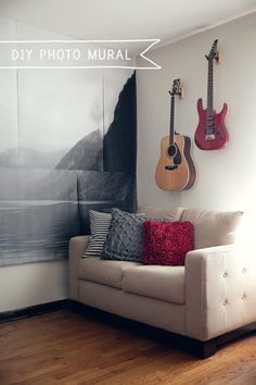 Make your own giant photo mural. | 28 Decorating Tricks To Brighten Up Your Rented Home
