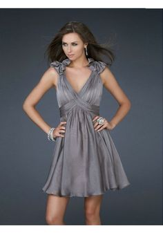 A-line V-neck Chiffon Light Slate Gray Cocktail Dresses/Short Prom Dress With Ruffles #AUSA019521