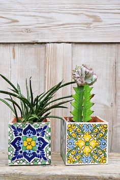 These colorful Boho Mexican tile planters actually take less than 5 minutes to m. - colorful Boho Mexican tile planters actually take less than 5 minutes to m.