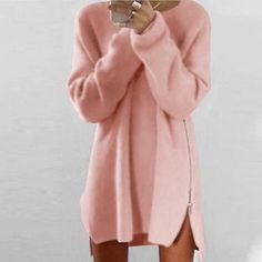 2018 Autumn Women Sweater Dress Plus Size Long Sweater Women.- 2018 Autumn Women Sweater Dress Plus Size Long Sweater Women Pullover Warm Zipper Female Women Oversize Knitted Sweater Dress - Long Sweaters For Women, Casual Sweaters, Blouses For Women, Women's Sweaters, Long Sleeve Sweater Dress, Knit Sweater Dress, Loose Sweater, Sweater Dresses, Loose Pants