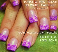 Nail-art by Robin Moses pink and purple no water marbling!  http://www.youtube.com/watch?v=EvLeOGz-CFI