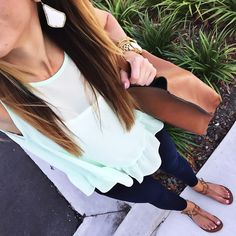 Peplum top, Kendra skylar earrings, skinny jeans, Tory burch miller sandals