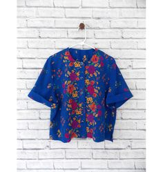 BLUE HAWAII  Royal Blue Short Sleeve Blouse with Bold Floral