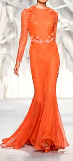 Abed Mahfouz HC FW 2013-14 | tangerine | floral applique | chiffon evening gown with sweep train