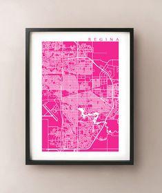 Regina Map Print  Saskatchewan Poster by CartoCreative on Etsy