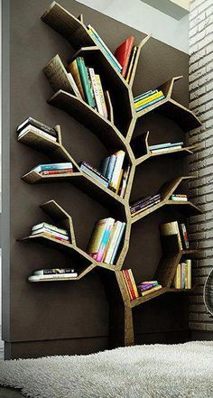 Tree book shelves!  #books #shelves #home #decor #ideas #storage #organizing #room #amazing