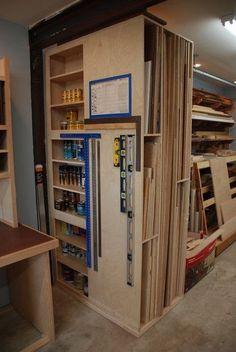 woodshop storage Need to make deep for lumber storage and plywood storage Garage Shop, Diy Garage, Garage Storage, Tool Storage, Storage Rack, Sheet Storage, Tall Cabinet Storage, Woodworking Workshop, Woodworking Jigs