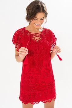 vestido guipure cordel