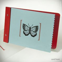 Image of Red & Blue-Green Butterfly Card {#133}
