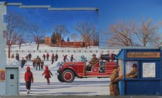 'HONOURING ISLINGTON'S VOLUNTEER FIRE BRIGADE'  Artist: John Kuna Year: 2007 Address: 4988 Dundas Street W     Each winter in the 1940s and 50s, the fire brigade diverted water from Mimico Creek to flood Central Park. This created a huge skating rink just south of Dundas W. The mural design incorporates a boarded casement at the back of the building and appears as a serving window for the little hut. Volunteers once played dance music and served hot chocolate and treats from such a window.