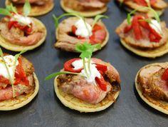 Canapé - Ras el hanout seared lamb on spiced blini w/ piquillo pepper & micro coriander Food Menu Design, Ras El Hanout, Ginger Jars, Canapes, Coriander, Bruschetta, Fine Dining, Street Food, Lamb