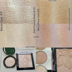 The Becca dupes I found in the Wet n Wild LE Megaglo Highlighting Powder collection.Both are shown with Direct Sunlight and indoor lighting.Check previous posts for more pics Highlighter Makeup, Contour Makeup, Drugstore Makeup, Makeup Tips, Vamp Makeup, Wet N Wild Highlighter, Highlighters, Makeup Set, Makeup Cosmetics