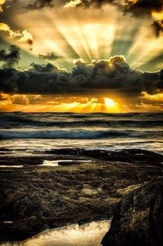 Amazing Sunset Victoria, Australia sky sunset beach beautiful ocean nature clouds places australia