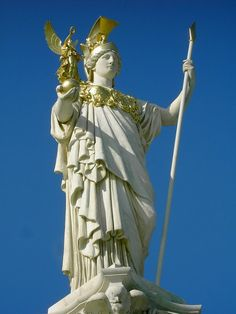 Athena - here depicted with the Aegis as a mantle and with Nike, Goddess of Victory, as a winged familiar vice an owl.