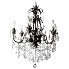 Hampton Bay - Heritage 6 Light Iron and Crystal Chandelier - 88054/6 - Home Depot Canada $189.99