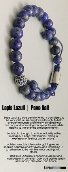 Lapis Lazuli is very spiritual. Wearing #lapis helps overcome shyness and timidity, bringing inner #harmony and helping to win over the affection of others.  #Beaded #Beads #Bijoux #Bracelet #Bracelets #Buddhist #Chakra #Charm #Crystals #Energy #gifts #gratitude #Handmade #Healing #Jewelry #Kundalini #LawOfAttraction #LOA #Love #Mala #Meditation #Mens #prayer #pulseiras #Reiki #Spiritual #Stacks #Stretch #Womens #Yoga #YogaBracelets