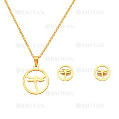 juego collar y aretes de libelula moda en acero dorado inoxidable -SSNEG504223