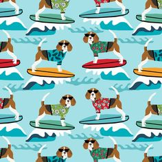 beagle surfing dog breed fabric pet lover fabrics blue fabric by petfriendly on Spoonflower - custom fabric