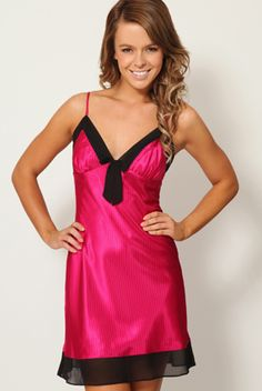 """""""Moonshadow Bows"""" Satin Chemise With Georgette Trim"""