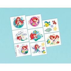 Little Mermaid Tattoo Favors by AMSCAN *. $3.73. 16 per package.. Have an adventure with Little Mermaid Tattoo Favors. Guests will enjoy each of the 16 tattoos. Tattoos come on 1 perforated sheet.