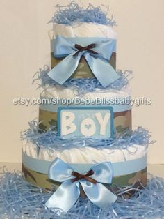 Pampered With A Blue Camo Diaper Cake by BebeBlissbabygifts on Etsy