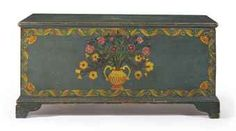 A FEDERAL BLUE-PAINTED AND POLYCHROME-DECORATED PINE BLANKET CHEST SCHOHARIE COUNTY, NEW YORK, 1820-1825