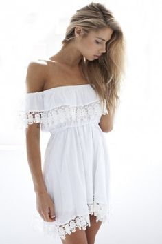 LUCLUC White Off-the-Shoulder Lace Panel Dress